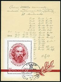 Un sello impreso en la URSS muestra a D.I. Mendeléiev (1834-1907) y una fórmula con correcciones del autor, en la conmemoración de los cien años de la Ley periódica (clasificación de elementos) en 1969. La tabla periódica cumple 150 años en este 2019.