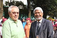 El secretario de Salud, Jorge Carlos Alcocer Varela y el presidente de la Academia Mexicana de Ciencias, José Luis Morán López, en el Festival de los Derechos de la Niñe.