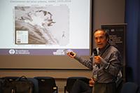 Doctor Ismael Aguilar Barajas, investigador del Departamento de Economía y del Centro del Agua para América Latina del Tecnológico de Monterrey, durante su participación en el taller binacional Mejorar la sostenibilidad en las zonas áridas transfronterizas Estados Unidos-México, celebrado en mayo de 2018 en San Luis Potosí.
