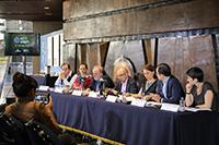 La presentación de la tercera edición de El Aleph, Festival de Arte y Ciencia, del 22 al 26 de mayo en el Centro Cultural Universitario y el Centro de Ciencias de la Complejidad, en Ciudad Universitaria, estuvo encabezada por Jorge Volpi, coordinador de Difusión Cultural de la UNAM.