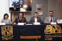 Los investigadores Yilen Gómez Maqueo, Jesús González González, William Lee Alardín y Alan Watson Forster, en el anuncio del nuevo telescopio mexicano en San Pedro Mártir, Baja California.
