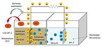 Representación esquemática de la celda de combustible microbiana utilizada para mejorar el tratamiento del agua residual y generar bioenergía.